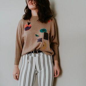 VINTAGE • geo print textured 80s sweater
